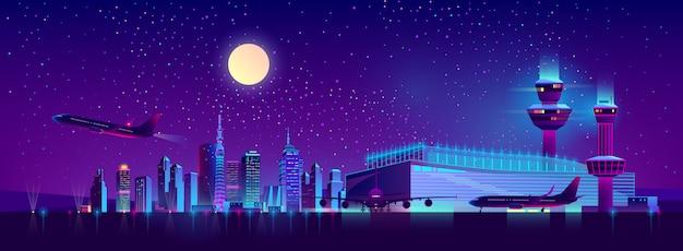 Nachtvluchten van de cartoon van de luchthaven van de stad Gratis Vector