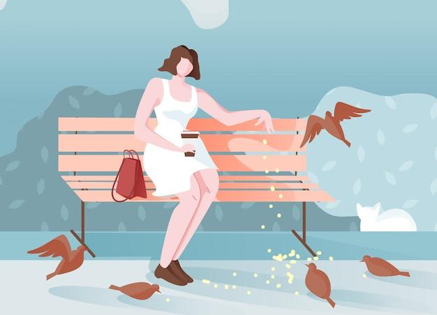 Nadenkend meisje in park zit en voedt vogels cartoon. Premium Vector