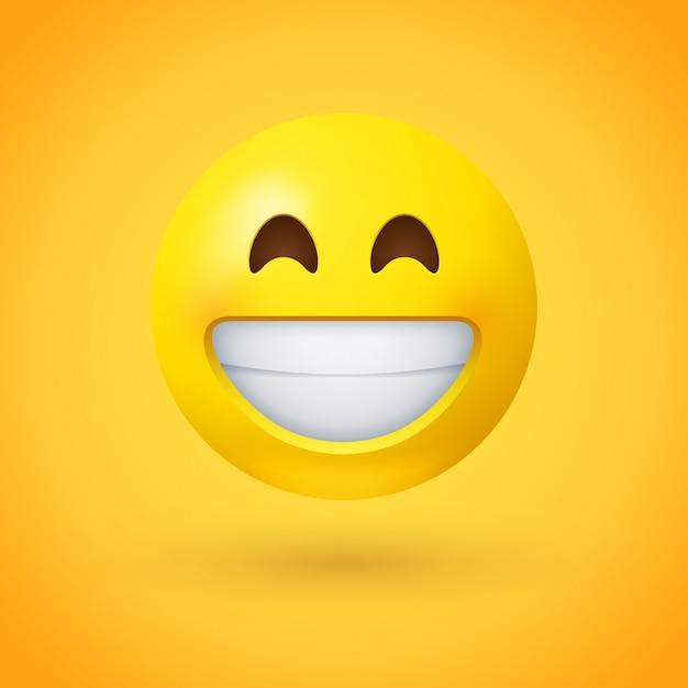 Nadenkende emoji van het gezicht met lachende ogen en een brede, open glimlach Premium Vector