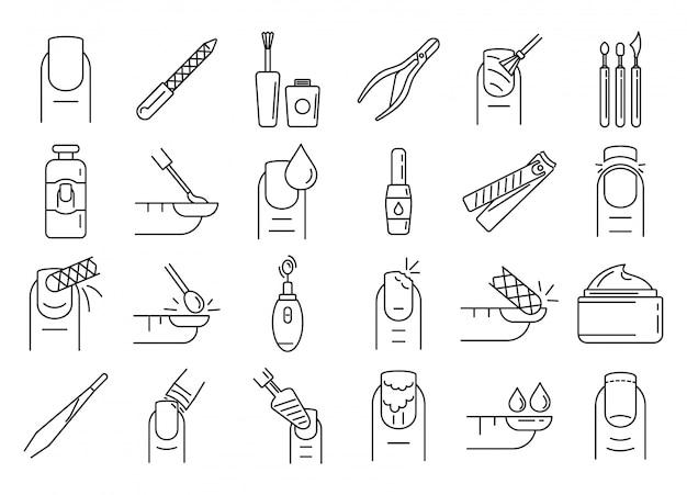 Nagel manicure iconen set, kaderstijl Premium Vector
