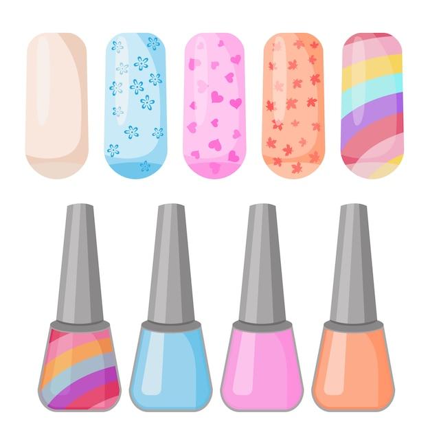 Nagellak kleurrijke reeks gekleurde geschilderde spijkersmanicure. Premium Vector