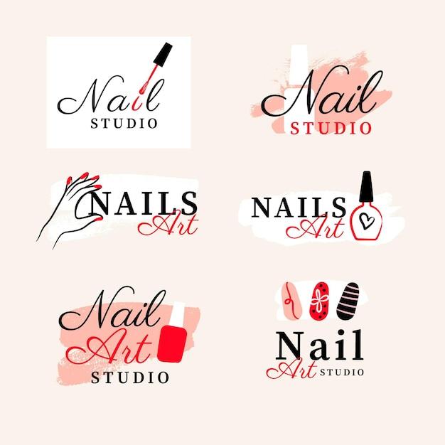 Nagels art studio logo collectie Gratis Vector