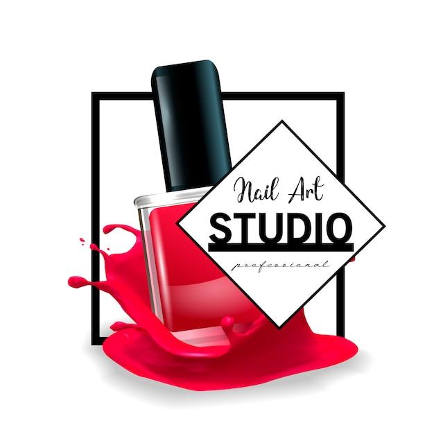 Nail art studio logo ontwerpsjabloon. Premium Vector