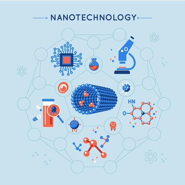 Nanotechnologie decoratieve plat pictogrammen instellen Gratis Vector
