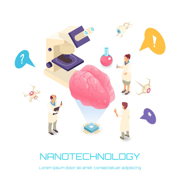 Nanotechnologie isometrisch concept met geïsoleerd de symbolenwit van de hersenwetenschap Gratis Vector