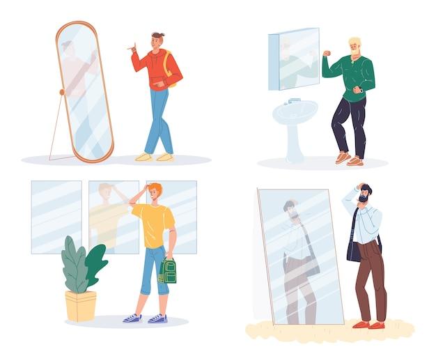 Narcistische man poseren voor spiegel geïsoleerde set. Premium Vector