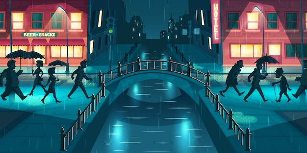 Nat, slordig herfst weer cartoon vector concept. mensen onder paraplu's lopen op slush straat straat, kruising brug verlicht met lantaarnpalen en borden licht op regenachtige avond illustratie Gratis Vector