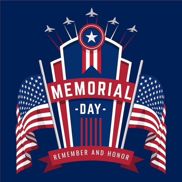 Nationale amerikaanse herdenkingsdag met vlaggen Gratis Vector