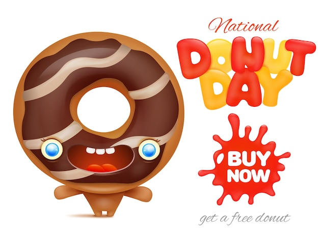 Nationale donut day holiday advertentie poster sjabloon Premium Vector