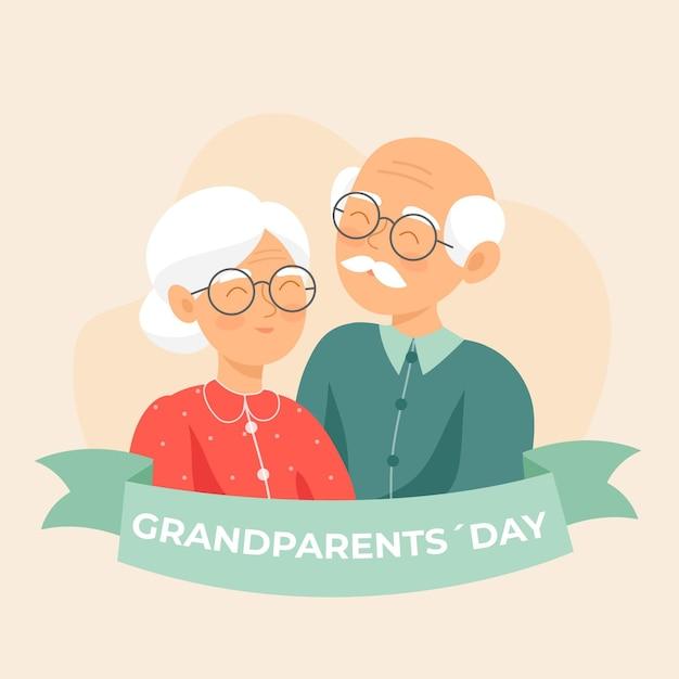 Nationale grootouders dag platte ontwerp achtergrond Gratis Vector