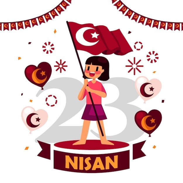 Nationale soevereiniteit en de dagillustratie van kinderen met de vlag van de meisjesholding Gratis Vector