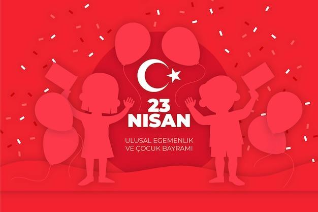 Nationale soevereiniteit en kinderdag illustratie met ballonnen en confetti Gratis Vector