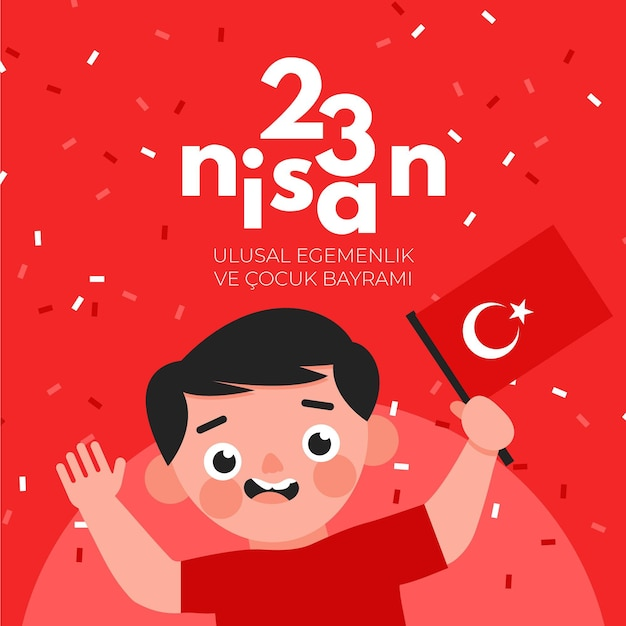 Nationale soevereiniteit en kinderdag illustratie met jongen en vlag Gratis Vector