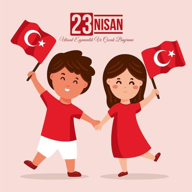 Nationale soevereiniteit en kinderdag in turkije Gratis Vector