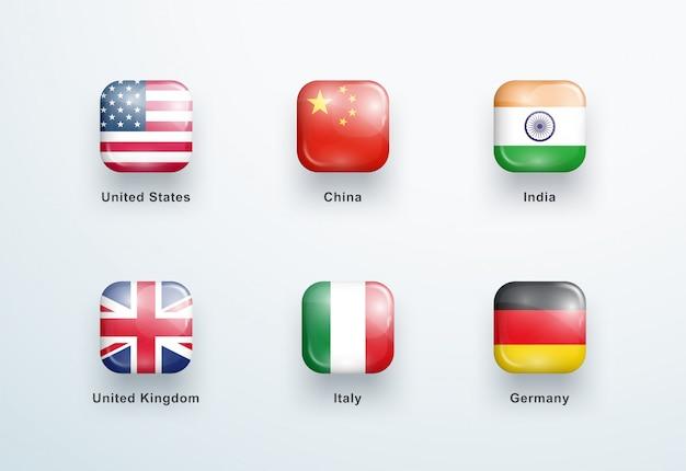 Nationale vlaggen vierkant glanzende knoppen icons set Premium Vector