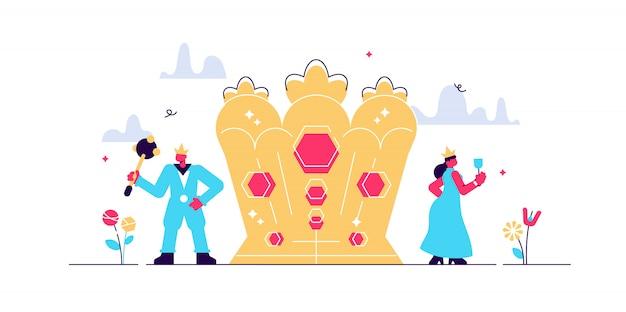 Nationale vorm van leiderschapsmacht. koning en koningin koninklijke troon en traditioneel kroonsymbool. aristocratie hiërarchisch systeem. Premium Vector