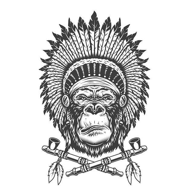 Native american indian chief gorilla hoofd Gratis Vector