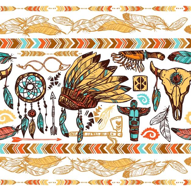 Native americans naadloze patroon Gratis Vector