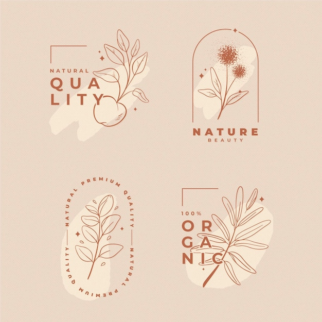 Nature cosmetica logo collectie Premium Vector