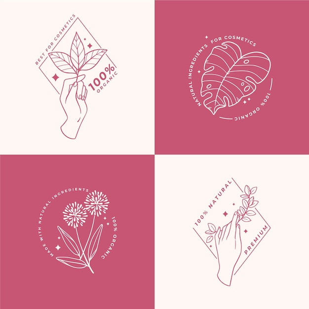 Nature cosmetica logo collectie Premium Vector
