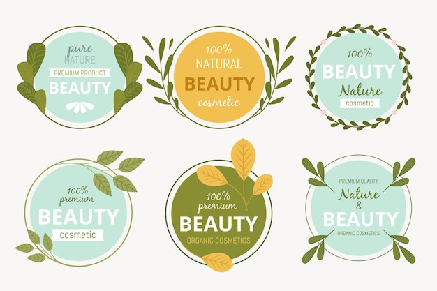 Nature cosmetica logo collectie Gratis Vector