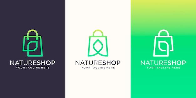 Nature shop, tas gecombineerd met bladlijnstijl logo ontwerpen sjabloon, Premium Vector