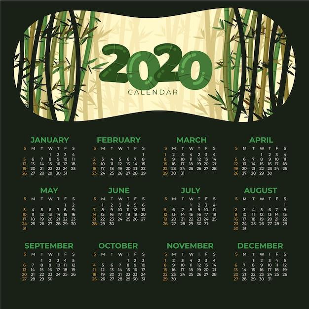 Natuur 2020 kalendersjabloon Gratis Vector