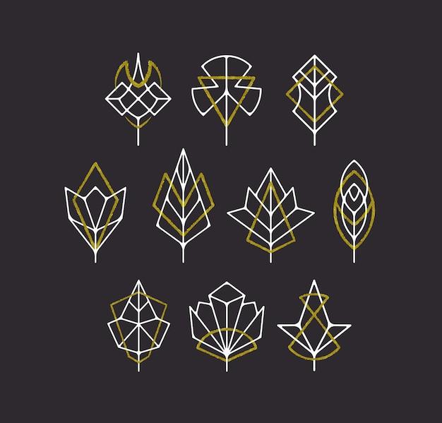 Natuur bladeren en bomen symbolen, witte en gouden geometrische logo set. Premium Vector