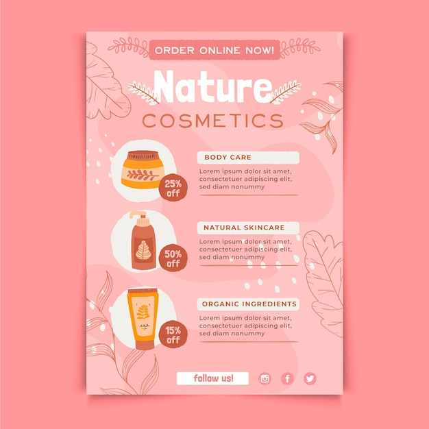 Natuur cosmetica flyer afdruksjabloon Gratis Vector