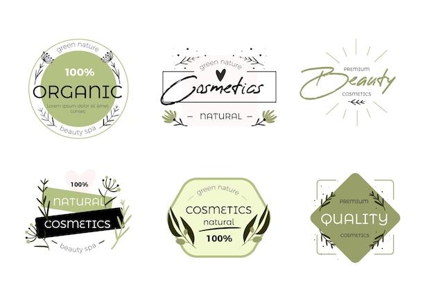 Natuur cosmetica logo collectie ontwerp Premium Vector