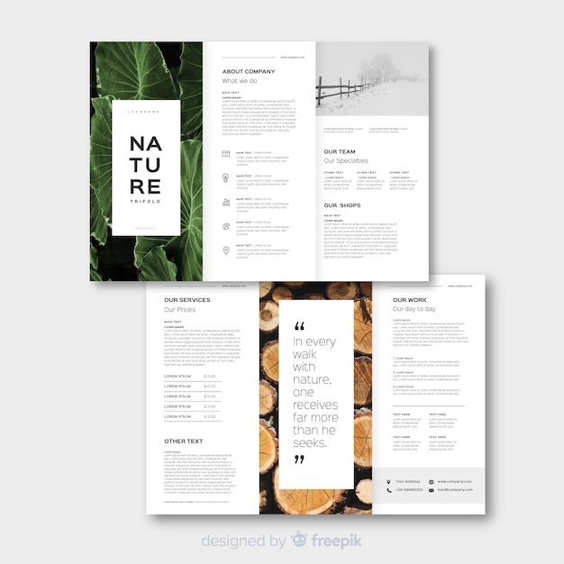 Natuur driebladige brochure sjabloon Gratis Vector