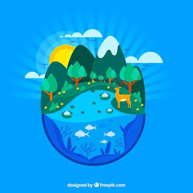 Natuur en ecosysteemconcept Gratis Vector