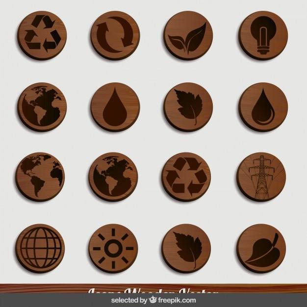 Natuur houten iconen Gratis Vector