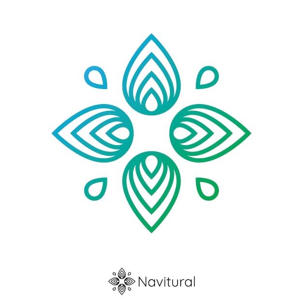 Natuur kompas logo. bladbloem van pin navigatie vorm concept. logo concept. Premium Vector