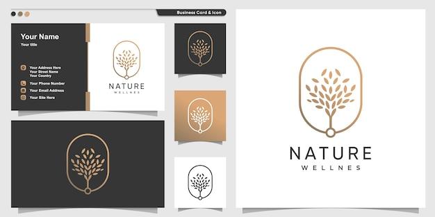 Natuur logo met gouden premium boom overzichtsstijl en visitekaartje ontwerpsjabloon Premium Vector