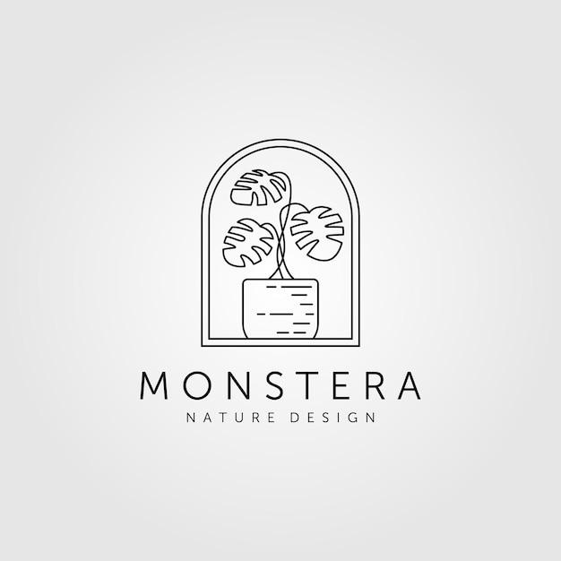 Natuur monstera plant lijntekeningen minimalistische logo symbool illustratie Premium Vector