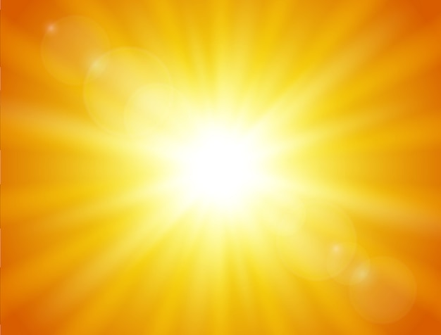 Natuur oranje achtergrond. schijnende zon. Premium Vector