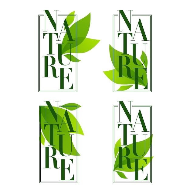 Natuurframes, organische bladerenemblemen, stickers en logo in elegante vlakke stijl Premium Vector