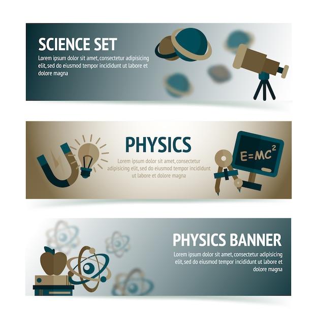 Natuurkunde wetenschapsbannermalplaatje Gratis Vector
