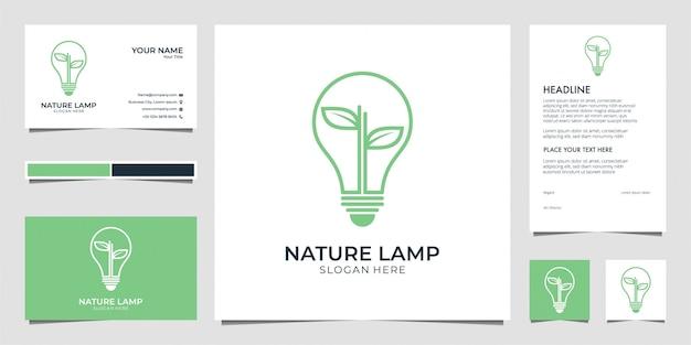 Natuurlamp, verlichting, blad, idee, creatief visitekaartje en briefhoofd Premium Vector