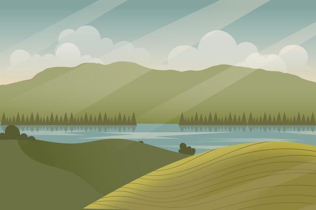 Natuurlijk landschap - achtergrond voor videoconferenties Gratis Vector