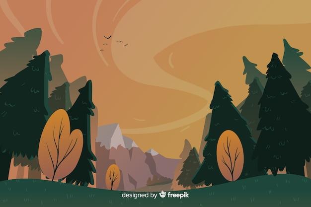 Natuurlijk landschaps plat ontwerp als achtergrond Gratis Vector