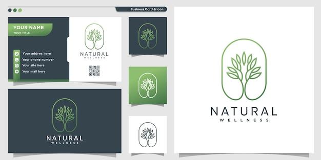 Natuurlijk logo met unieke kunststijl van de boomgrens en visitekaartje Premium Vector