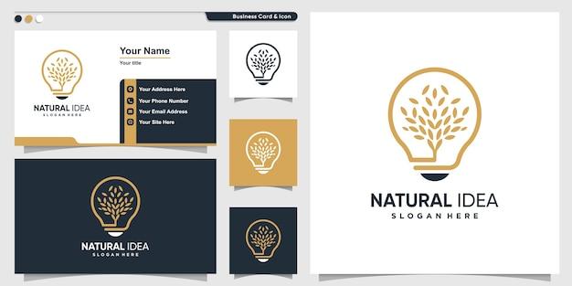 Natuurlijk logo met unieke moderne stijl van bladidee en ontwerpsjabloon voor visitekaartjes Premium Vector