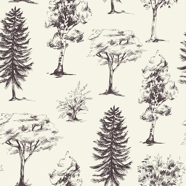 Natuurlijk naadloos patroon van zwart-wit bomen Premium Vector