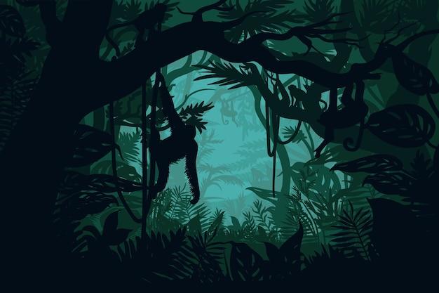 Natuurlijk oerwoudlandschap Gratis Vector