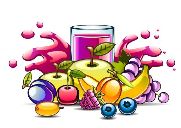 Natuurlijk paars sap en fruit Premium Vector
