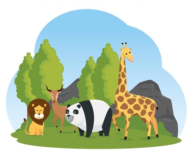 Natuurlijk safarireserve voor wilde dieren Gratis Vector