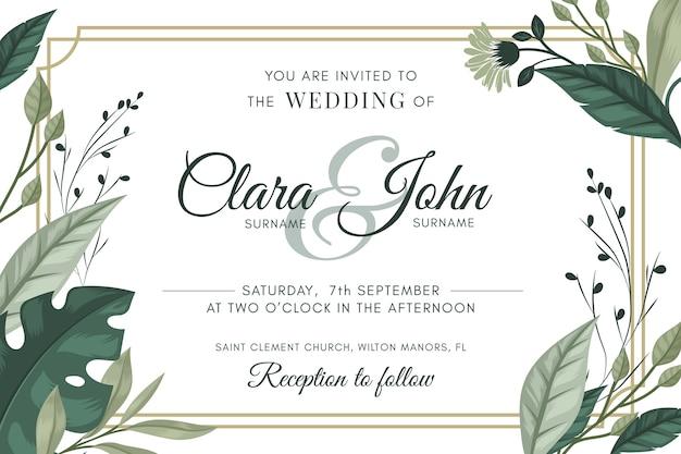 Natuurlijk sparen de uitnodiging van het datumhuwelijk Gratis Vector