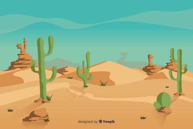 Natuurlijk woestijnlandschap met cactus Gratis Vector